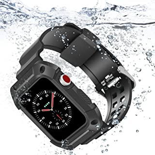 Compatible with Apple Watch Band 42mm, iiteeology Breathable Shockproof Sports Frame Case with Black Band Straps for Apple Watch Series 3 Series 2- Black