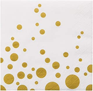 100 Gold Polka Dot Napkins Decorative White Gold Confetti Cocktail Paper Party Dessert Beverage Napkins Bulk for Christmas Birthday Bridal Baby Shower Occasions Wedding Anniversary Engagement Holiday