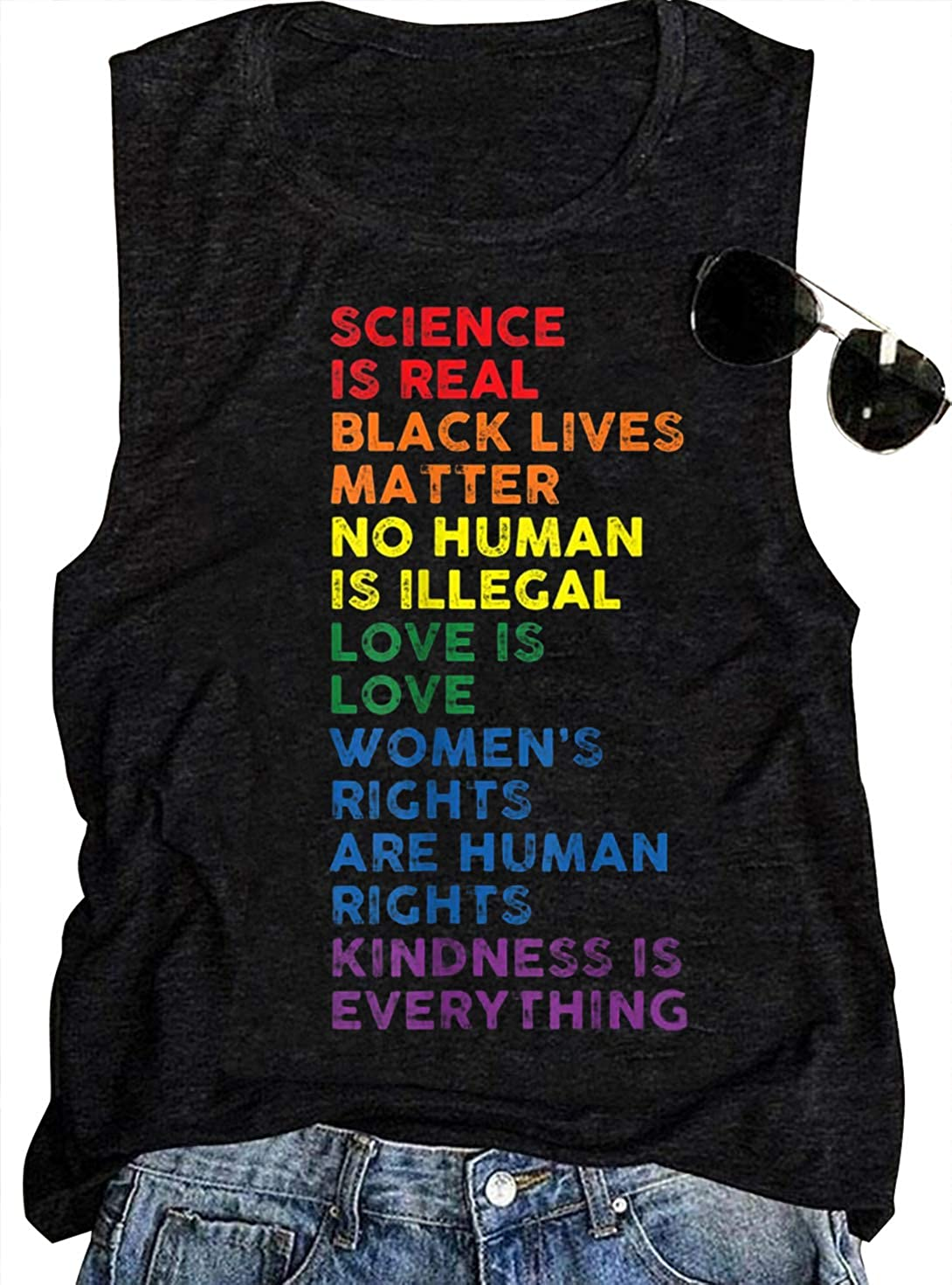 LGBT Gay Pride Sleeveless T Shirts Womens Rainbow Science is Real Black Lives Matter Love is Love Equality Tank Tops