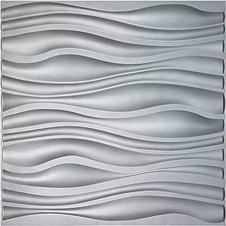 Art3d PVC Wave Board Textured 3D Wall Panels, Silver, 19.7