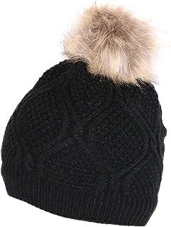KMystic Solid Winter Thick Beanie Hat Fur Pom
