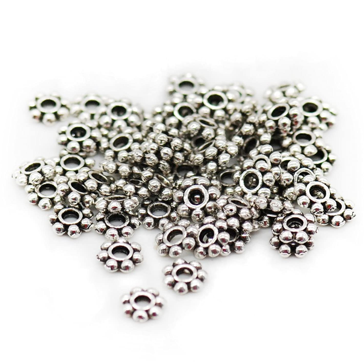 GBSTORE 500 Pcs Tibetan Silver Daisy Spacer Metal Beads 4mm for Jewelry Making