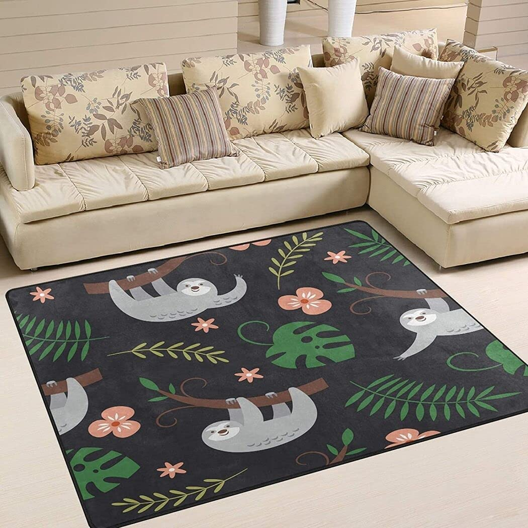 Cute Sloths Hanging On The Tree Christmas Flower Ba for Ranking TOP11 Oakland Mall Rug