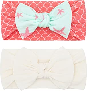 Baby Bling Bows Newborn to Little Girls Hair Bow - Printed and Classic Knot Headbands Toddlers Hair Accessories (2 Pack)