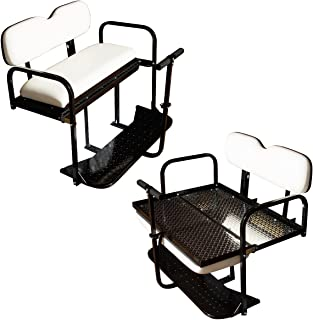 Performance Plus Carts EZGO TXT Golf Cart Rear Flip Back Seat Kit - Factory White