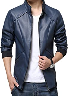 KIWEN Men's Stand Up Collar Faux Leather Jacket Slim Fit