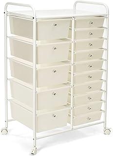 Seville Classics 15-Drawer Multipurpose Mobile Rolling Utility Storage Organizer Cart, White