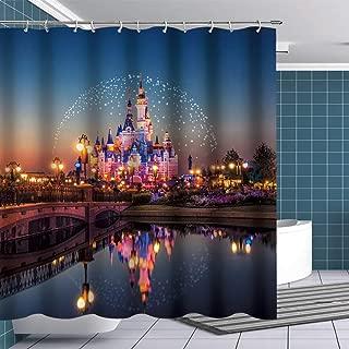 BTTY Disney Castle Shower Curtain Fairyland for Kids Bathroom Polyester Waterproof Bathroom Curtain with Hooks for Bathroom Showers Decoration Fairy Tale World Fabric Shower Curtain Sets 70x70Inches