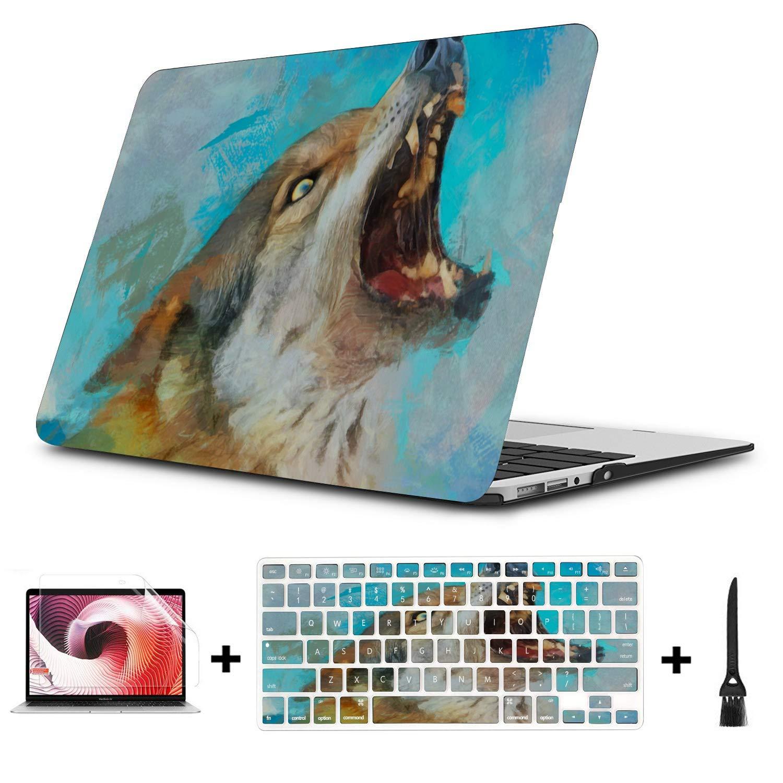 Accesorios para Macbook Pro Feroz Animal Salvaje Lobo Pintura al óleo Plástico Carcasa Dura Compatible Mac Air 11