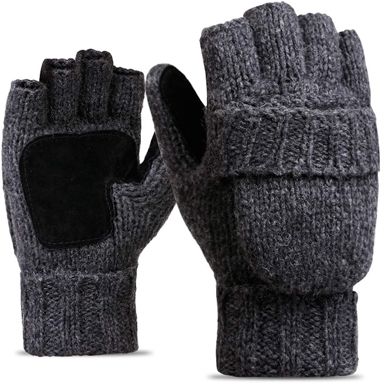Elonglin Half-Finger Gloves with Mitten Cover Men Women Wool Blend Knitted Mitten