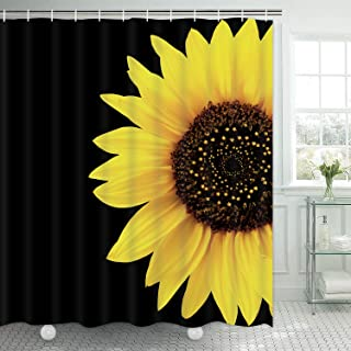 Ikfashoni Sunflower Shower Curtain with 12 Hooks, Yellow Floral Shower Curtains for Bathroom, Waterproof Fabric Shower Curtain with Flowers, 69 x 70 Inches