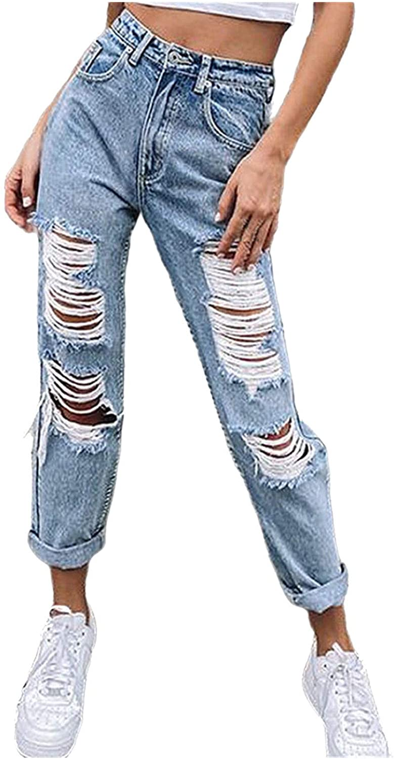 MASZONE Jeans for Women High Waisted Stretch Baggy Straight Leg Ripped Denim Pants with Holes Relaxed Fit Trousers