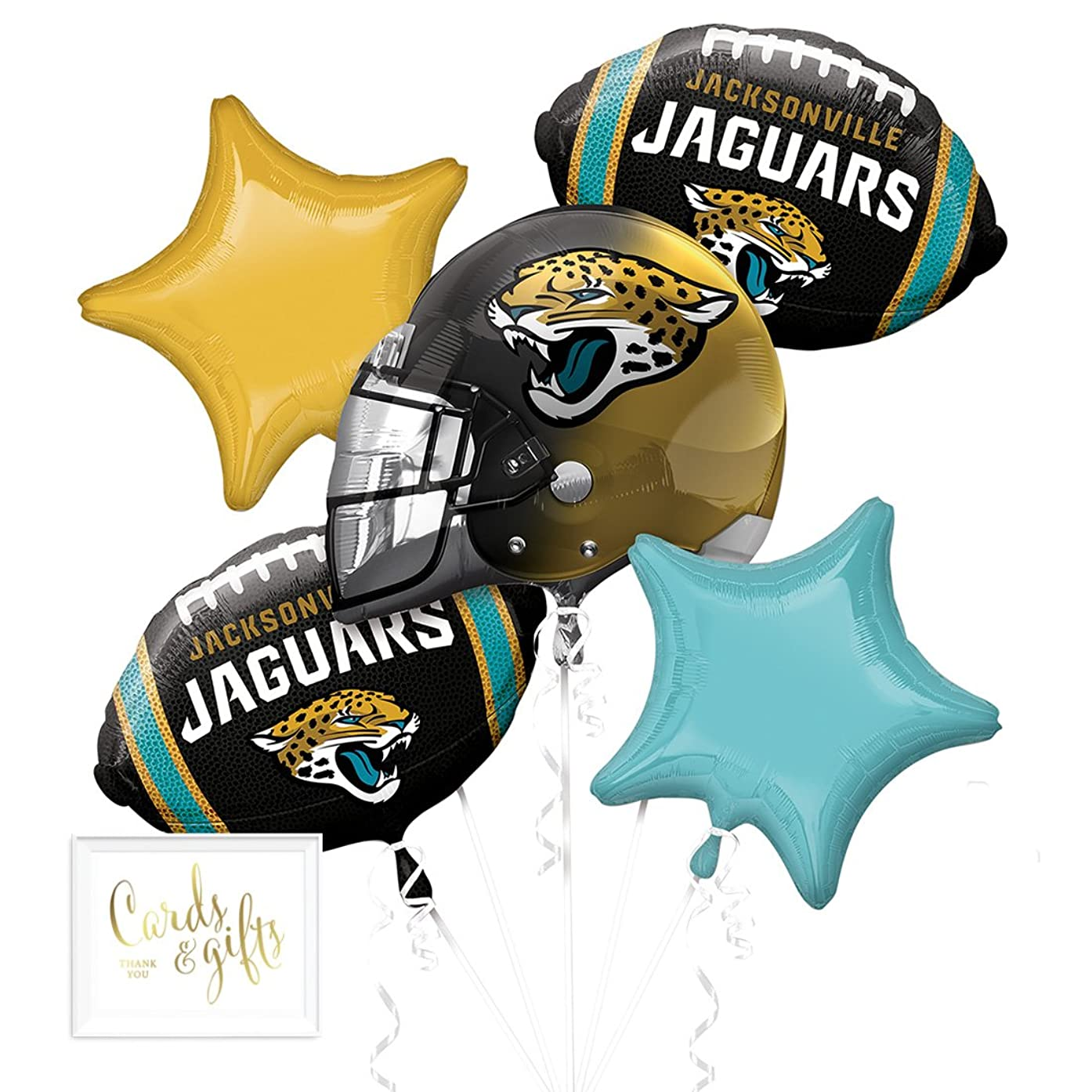 Andaz Press Balloon Bouquet Party Kit with Gold Cards & Gifts Sign, Jaguars Football Themed Foil Mylar Balloon Decorations, 1-Set
