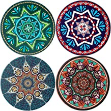JFTOU Coasters, Coasters for Drinks, Ceramic Stone with Cork Back, Set of 4 Drink Coasters with Pretty Mandala Patterns, 4...