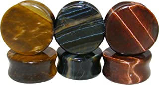 Lobal Domination -All 3 Pair- Yellow, Blue & Red Tiger Eye Organic Stone Plugs Double Flare Gauges