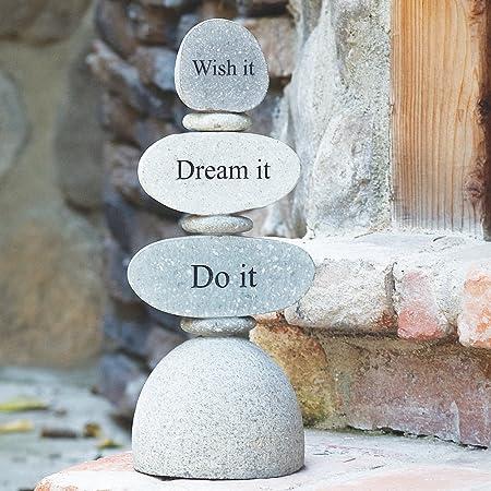 Amazon Com Live Love Laugh Engraved Stone Rock Cairn Zen Garden Sculpture Outdoor Decor Garden Outdoor