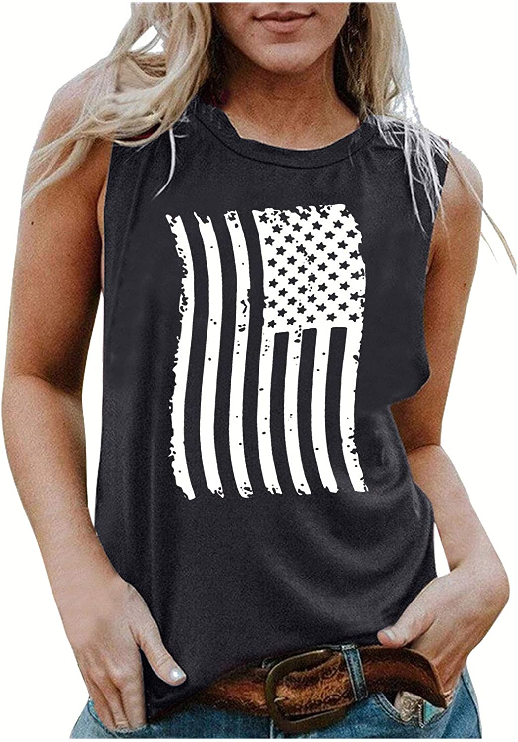 Womens Tops Graphic Tees Women Funny,Women American Flag Tank Tops 4th of July Tee Summer Loose Patriotic USA T Shirts