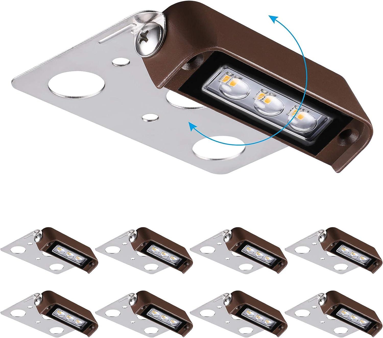 LEONLITE 8-Pack 4 Under blast sales Inch 2W LED Swiv Wall 270° Manufacturer OFFicial shop Retaining Lights