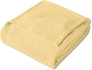 Sweet Home Collection 100% Fine Cotton Blanket Luxurious Basket Weave Stylish Design Soft and Comfortable All Season Warmth, King, Lemon