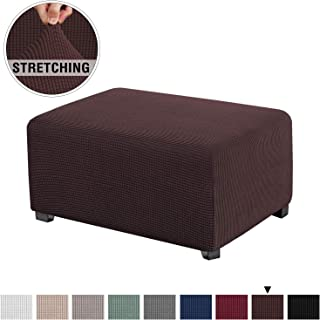 Stretch Spandex Jacquard Rectangle Folding Storage Covers Ottoman Slipcovers High Spandex Small Checks Jacquard Fabric Removable Footstool Protect Footrest Covers (Standard Size, Brown)