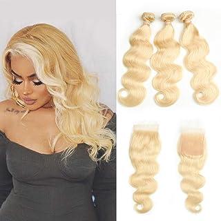 Beauhair #613 Body Wave Bundles with Closure Platinum Blonde (16 18 20+14Closure) 4x4 Lace Free Part Closure with 3 Bundle...
