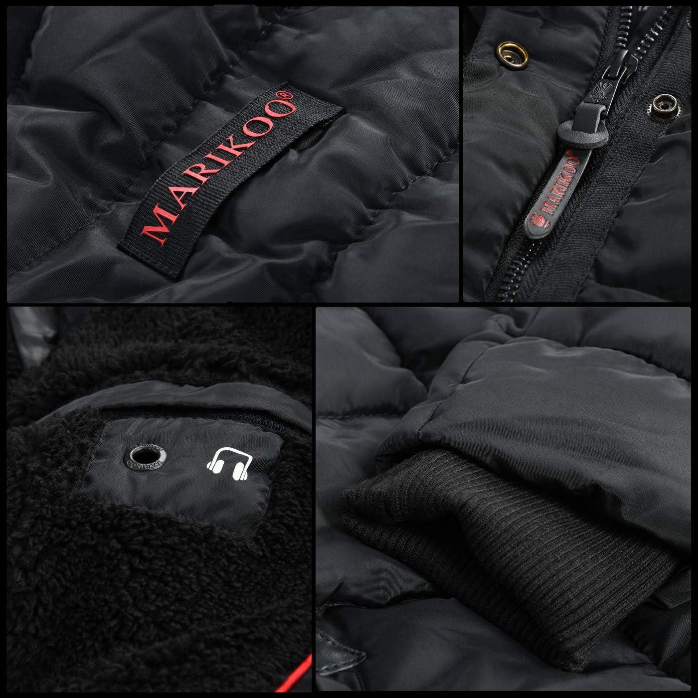 Marikoo warme Damen Winter Jacke Winterjacke Steppjacke gefüttert Kunstfell B618 Gelb