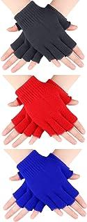SATINIOR 3 Pairs Half Finger Gloves Winter Fingerless Gloves Knit Gloves for Men Women