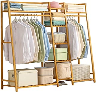 LOHOX Portant Stable Penderie à Vêtements en Bambou Porte Manteau Armoire Crochets Etagères de Rangement en avec étagère p...