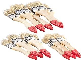 AGT Pinsel: 15-teiliges Flachpinsel-Set mit Holzstielen und Naturborsten, 3 Größen Pinselset