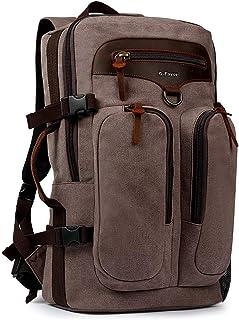 G-FAVOR Men Travel Backpack Canvas Rucksack Vintage Convertible weekender Duffel Bag Flight Approved Luggage Carry