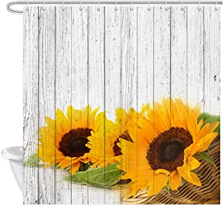 Daisy Blossom Sunflower on Rustic Wooden Barn Door Shower Curtain, Flower on Vintage Grey Wood Board Panels Plank Bathroom Curtains Waterproof Fabric Panel Bath Curtain Sets with 12 Hooks, 70X70in