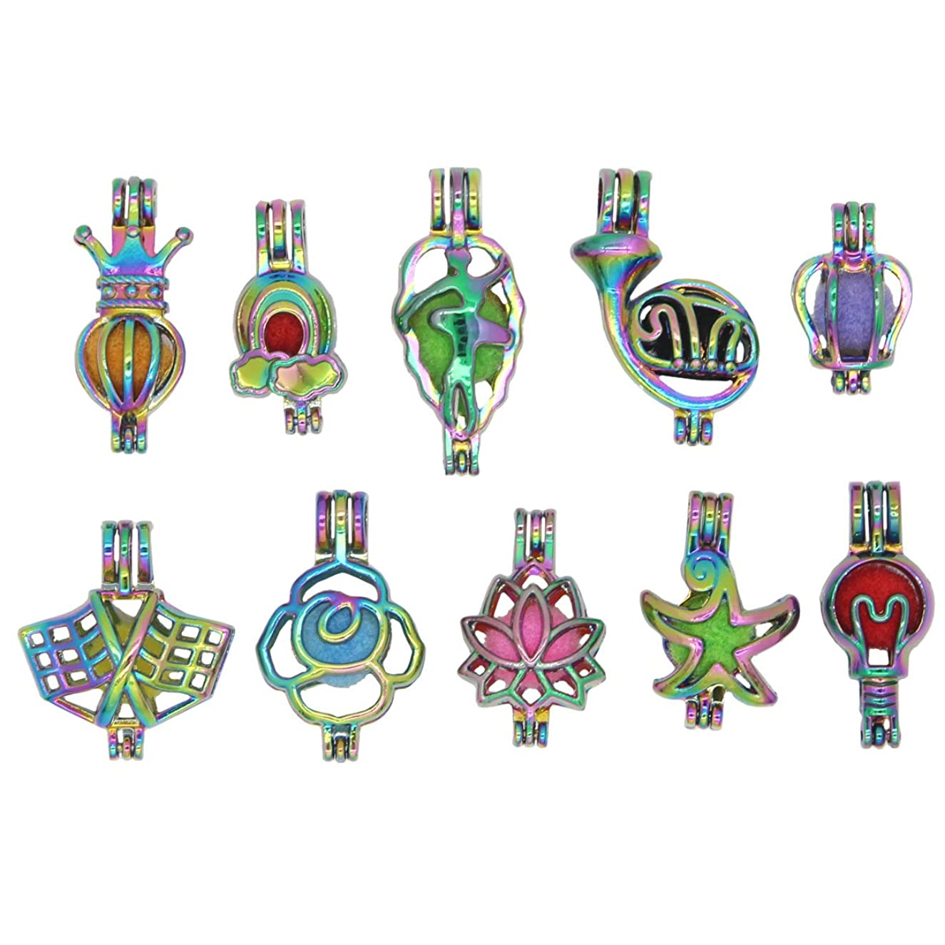 Bruin 10pcs Rainbow Color Rose Flower Pearl Cages Essential Oil Diffuser Locket Pendant Craft Jewelry Making Necklace Charms