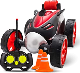 Atlasonix Remote Control Car for Boys - RC Stunt Car Toy | 4-Wheel Drive Car Spins and Flips | Indoor and Outdoor w/ Bonus - 6 Traffic Cones for Kids - Boys and Girls | Color Red and Black