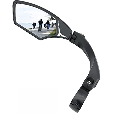 Hafny New Handlebar Bike Mirror, HD Blast-Resistant, Safe Crystal Clear Glass Mirror, Adjustable Rotatable Bike Mirror, Rearview Mirror, Bicycle Mirror,HF-MR095