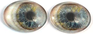 Moving Blue Animated Human Oval Glass Eyes Holographic Cabochon Pair for Art Dolls, Sculptures, Props, Masks, Halloween Decor, Jewelry Making, Taxidermy, and More (30mm x 40mm)