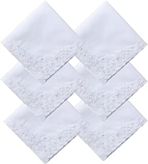 COCOUSM Womens Large Soft White Embroidered Handkerchiefs - 60s Cotton Square 17