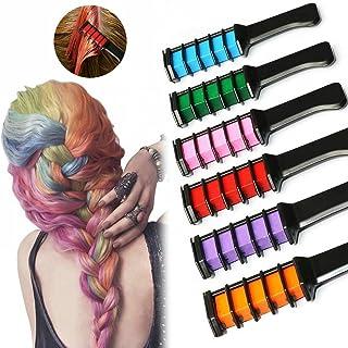 Hair Chalk Comb Set, PJYU 6 Colors Temporary Hair Color Cream for Kids Girls Boys Men Disposable Instant Dye Hair DIY Part...
