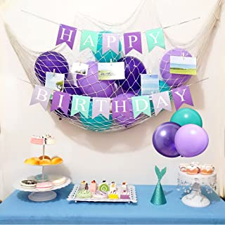 Mermaid Theme Birthday Party Decorations Mermaid Party Under The Sea Party Supplies 33 Pieces-Mermaid Tail Crown,DIY Photo Natural Fish Net,Wooden Clip,Multicolored Latex Balloons,Banner