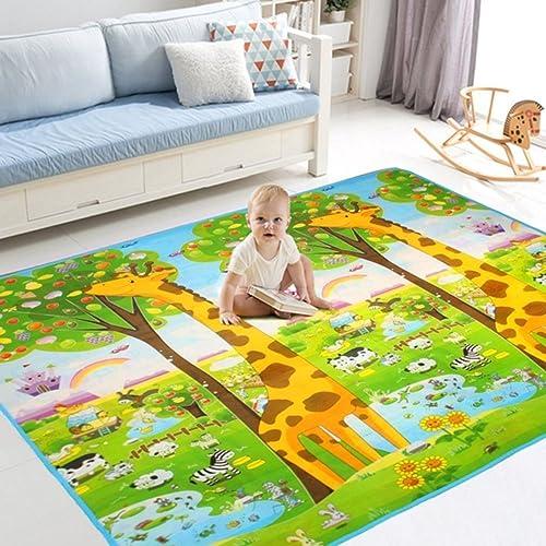 Tapis de jeu Bébé Enfant 200 x 180 x 0.6CM Tapis d'éveil antichoc motif double –face Dessin Girafe&Lettre avec sacs à main exquis