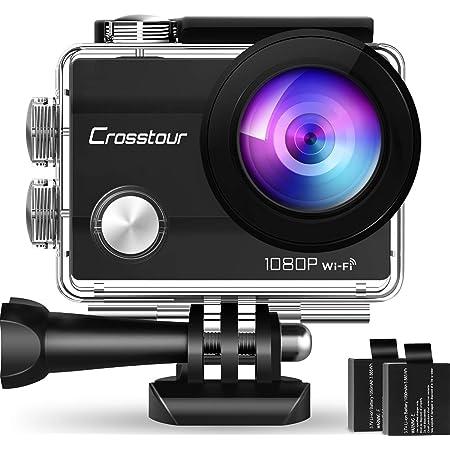 Crosstour Action Cam CT7000, WiFi Full HD da 14 MP Fotocamera Subacquea Impermeabile 30M, 2 batterie ricaricabili Schermo LCD da 2 pollici 170 grandangolare,Stabilizzazione Videocamera 12 accessori