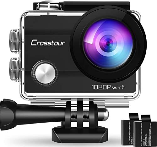 "Crosstour Action Cam, Sport WiFi Camera 14MP 2""LCD Full HD Impermeabile 2 Batterie 1050mAh 170°Grandangolare e Kit Ac..."