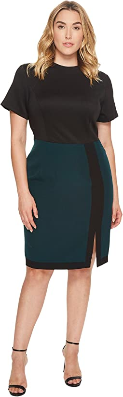 Adrianna Papell - Plus Size Scuba and Crepe Color Block Sheath Dress