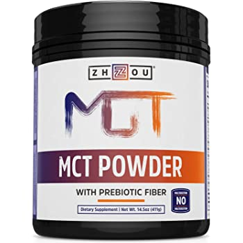 Zhou Nutrition Mct Oil Powder With Prebiotic Acacia Fiber - Zero Net Carbs - Keto Friendly Fat & Fiber SOURCE for Sustained Energy, & Gut Health - Easy To Digest - for Coffee, Smoothies & More!