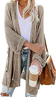 Women's Lightweight Solid 3/4 Sleeve Split Knit Loose Open Front Cardigan Sweaters Outwear Coat