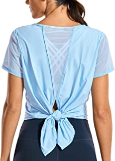 CRZ YOGA Women's Breezy Feeling Workout Shirts Loose Fit Short Sleeve Tee Mesh Tie Back Athletic Gym Clothes