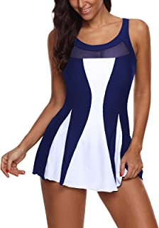 Zando Women One Piece Swimsuits Swimdress Miniskirt Slimmer Color Block Bathing Suit for Women