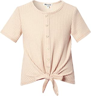 Girls Short Sleeve Summer Tie Front Knot Casual Waffle Knit Tee T-Shirt Tops Casual Blouse 4-13Y