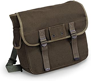 Musette Cotton Canvas Messenger Bag for Outdoor and Everyday Use (Olive Drab)