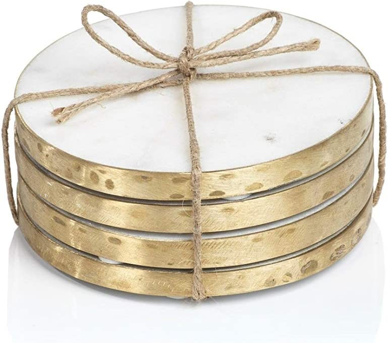 4-inch Round Marble Max 85% OFF Coasters Set White of Gold 4 2021 model