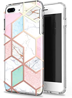 JAHOLAN Actual Glitter Sparkle 3D Design Marble Clear Bumper Hybrid Cushion Scratch Resistant Shockproof Hard Back Cover Phone Case Compatible with iPhone 7 Plus/8 Plus/6 Plus/6S Plus